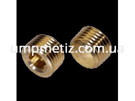 Пробка (заглушка) резьбовая коничекая и внутренним шестигранником M10*1 латунь DIN 906