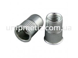 Гайка клепальная потайная (mini) рифленая M10 (0.70 3.50) цинк белый UMP320