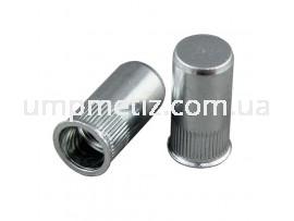 Гайка клепальная с буртиком потайная глухая M6 (0.50 2.00) цинк белый UMP325